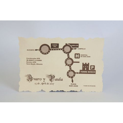 Tarjeta de agradecimiento pergamino rectangular Edima 150.052