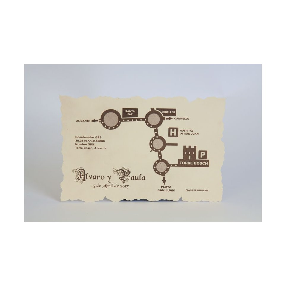 Rectangular parchment thank you card Edima 150,052
