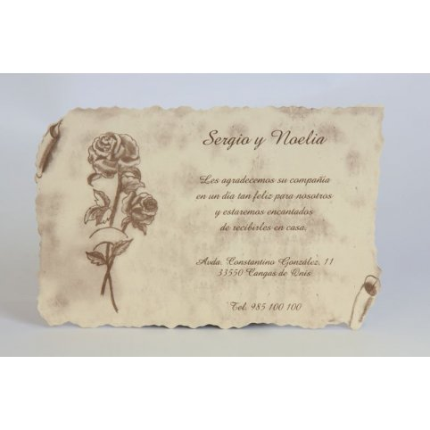 Tarjeta de agradecimiento pergamino y rosas Edima 150.133