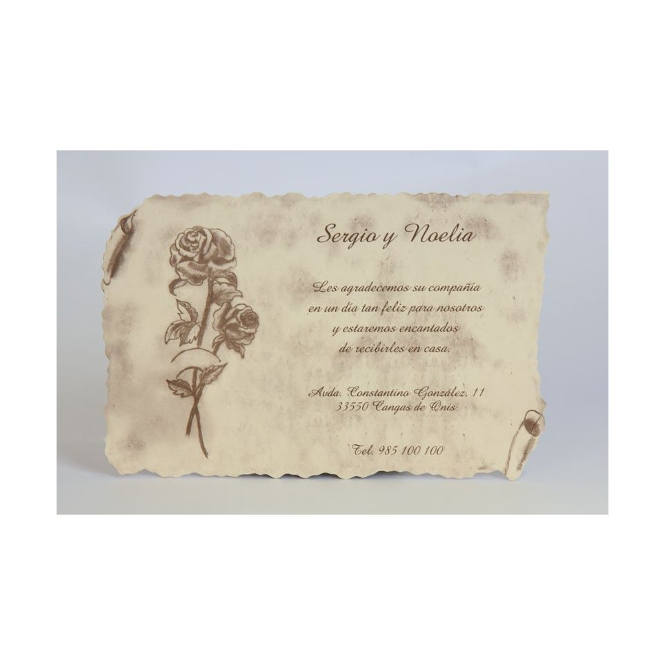 Parchment and rose thank you card Edima 150,133