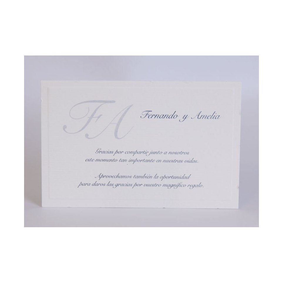 Tarjeta de agradecimiento clásica azul mediana Edima 150.545