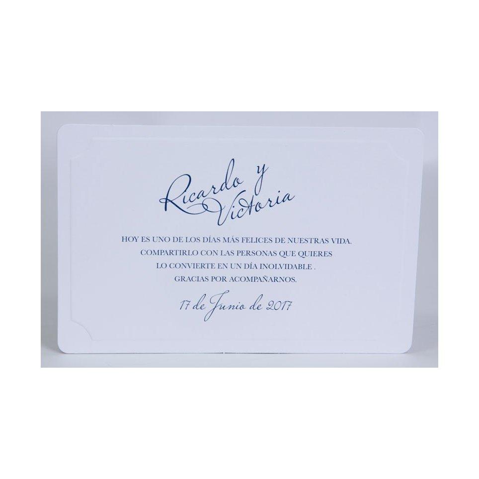 Tarjeta de agradecimiento clásica blanca Edima 150.548
