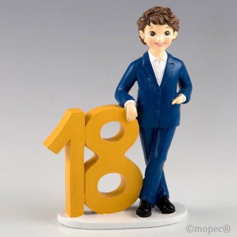 Figura per torta 18 ° anniversario giacca ragazzo 21 cm