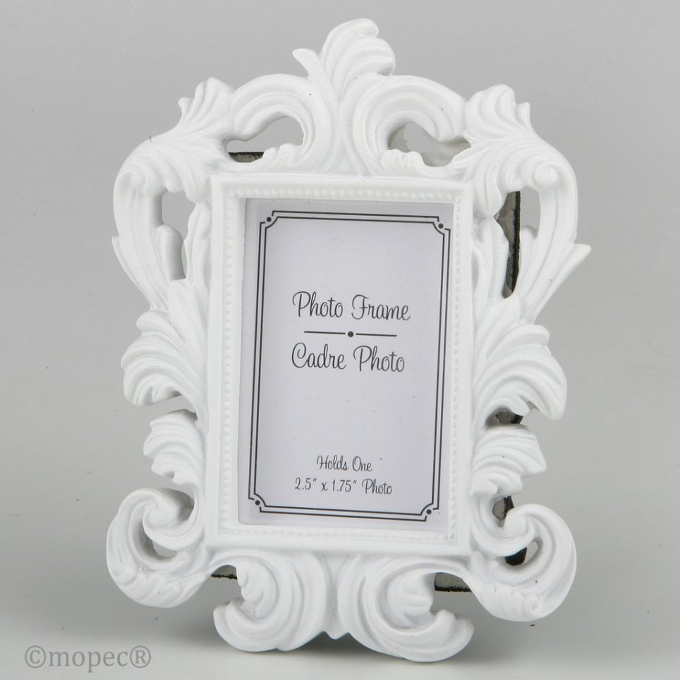 Portafoto bianco in resina barocca 4,4x6,4cm