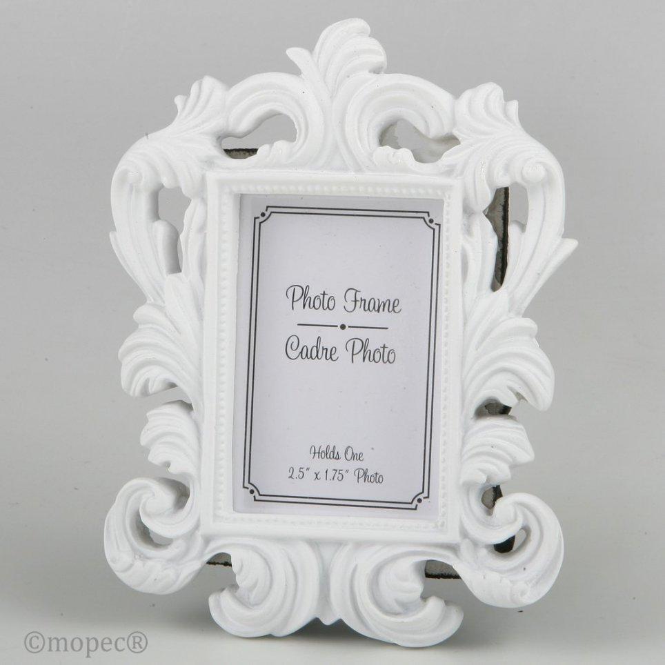 Frame photo baroque white resin 4.4x6.4cm