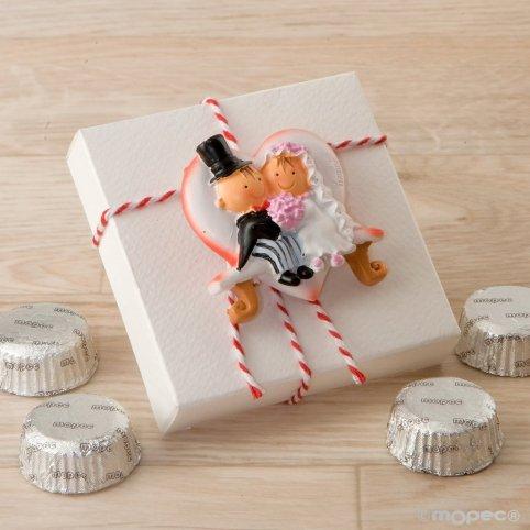 Pit & Pita Geschenkbox mit Magnet, Herzbank und 4 Pralinen