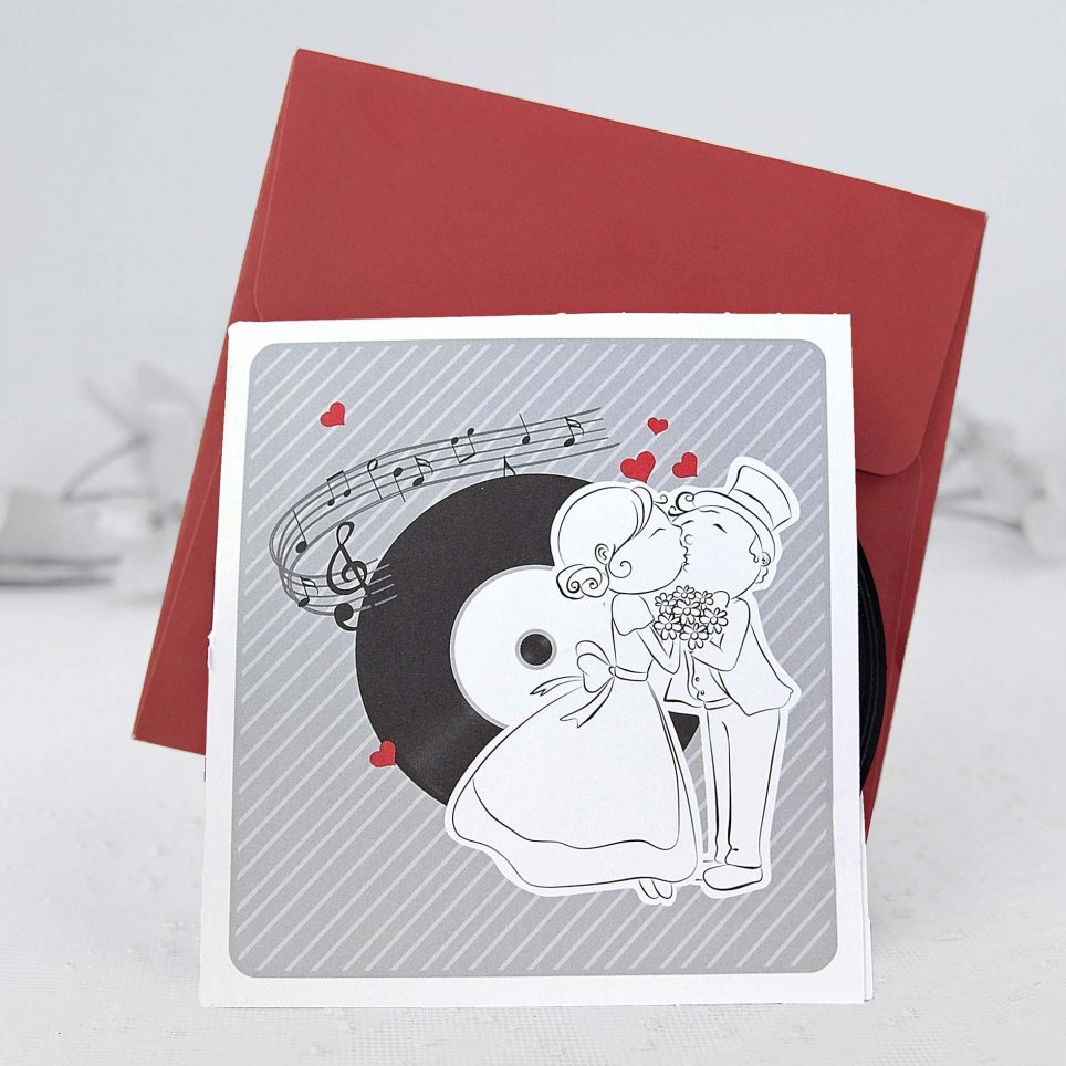 Hochzeitseinladung der Schallplatte, Cardnovel 39106