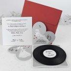 Invitación de boda disco vinilo, Cardnovel 39106 abierta