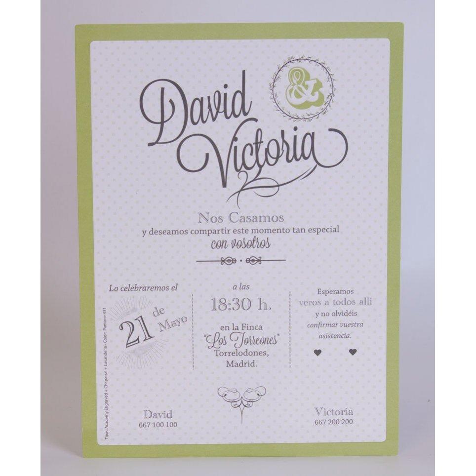 Invitación de boda topitos verdes Edima 100.701