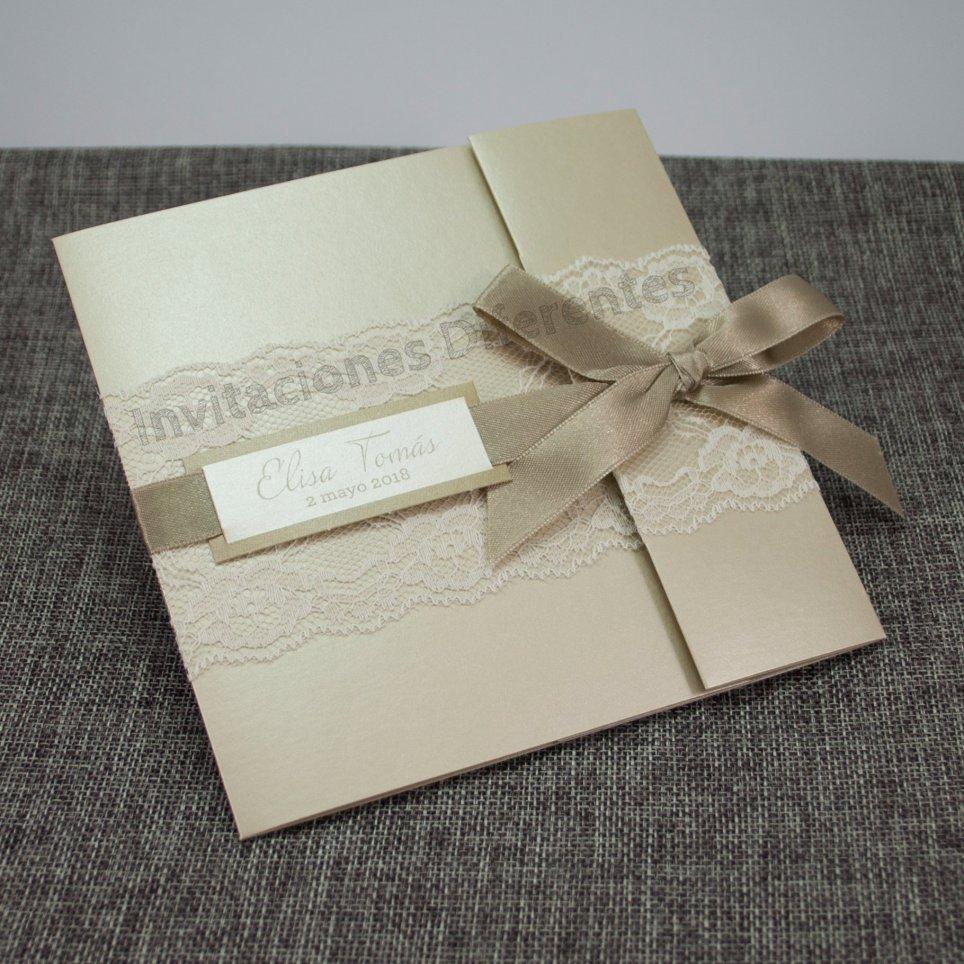 Invitación de boda encaje champán Belarto 726076