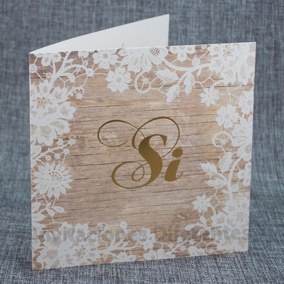 Invitación de boda madera Sí Belarto 726034