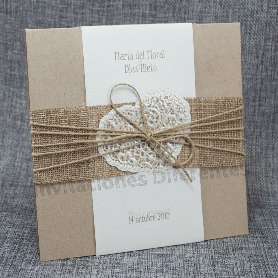 Hochzeitseinladung Kraft Jute Belarto 726074