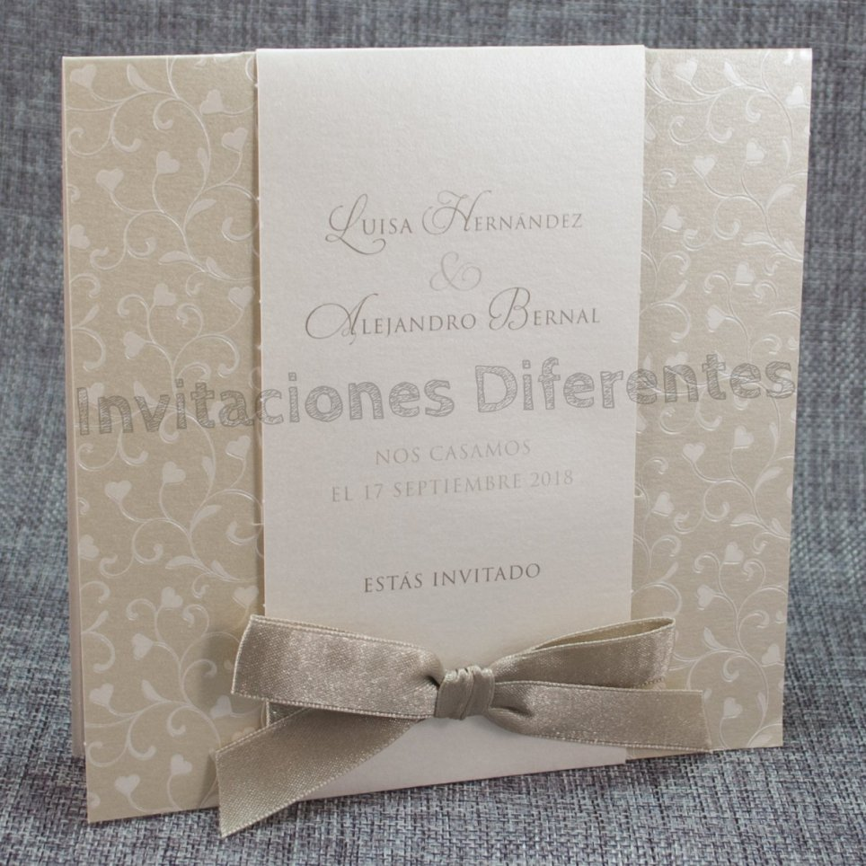 Wedding Invitation Bow Hearts Belarto 726055