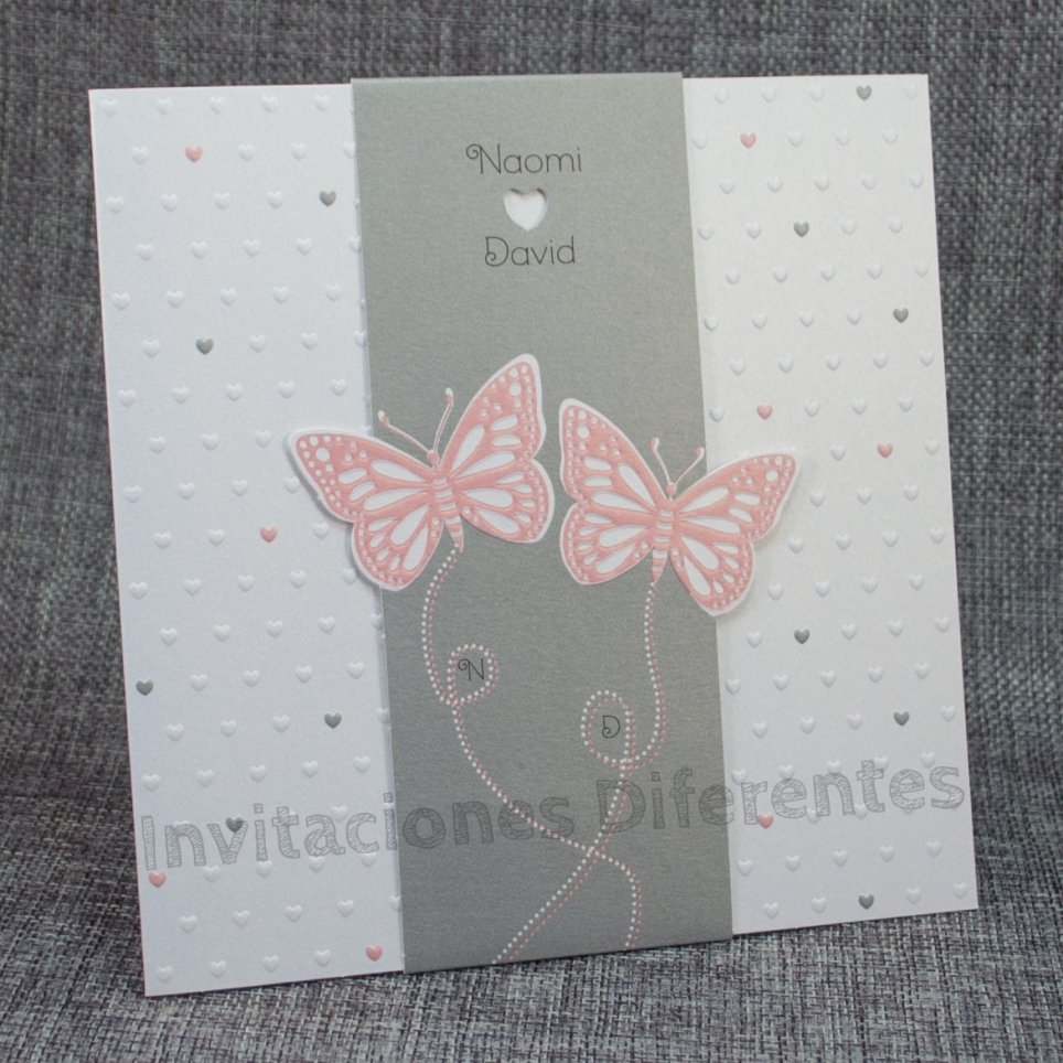 Hochzeitseinladung rosa Schmetterlinge Belarto 726030