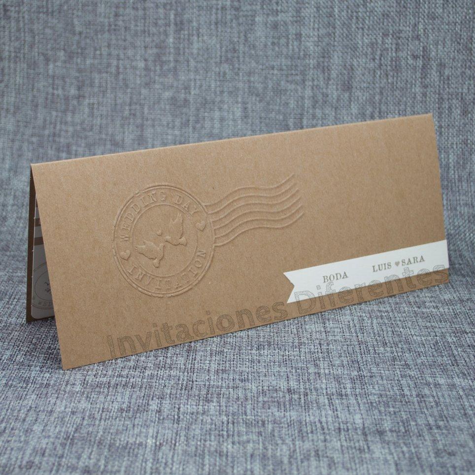 Invitación de boda kraft pasaporte, Belarto 726020