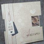 Invitación de boda tríptico madera Belarto 726001 detalle