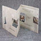 726001 Wood Belarto triptych wedding invitation open