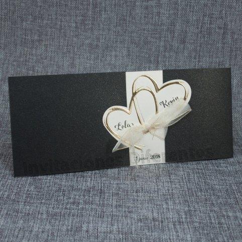 Invitación de boda corazones dorados Belarto 726062