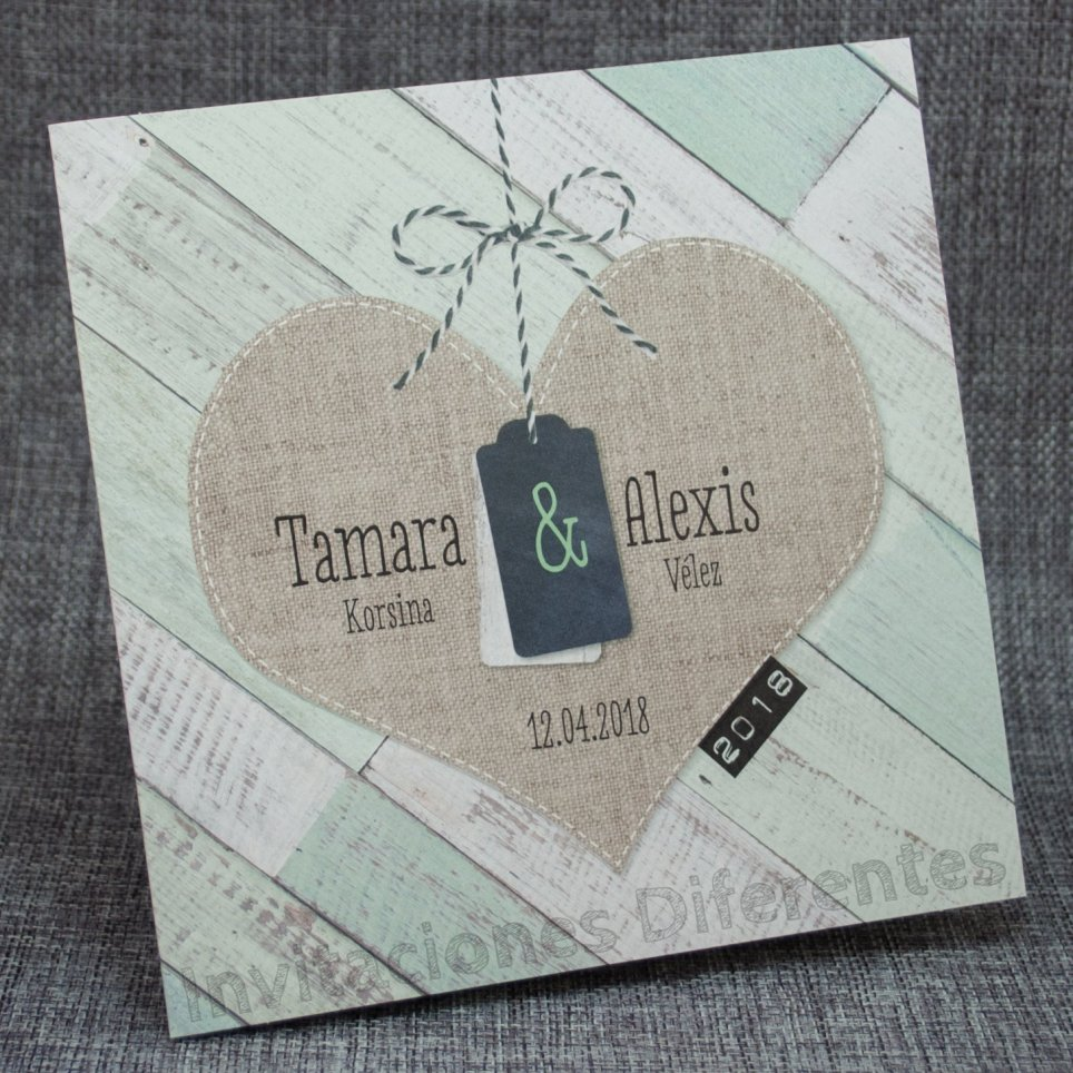 Invitación de boda corazón yute Belarto 726002