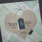 Invitación de boda corazón yute Belarto 726002 detalle