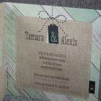 Invitación de boda corazón yute Belarto 726002 texto