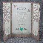 Invitación de boda árbol corazón Belarto 726015 abierta