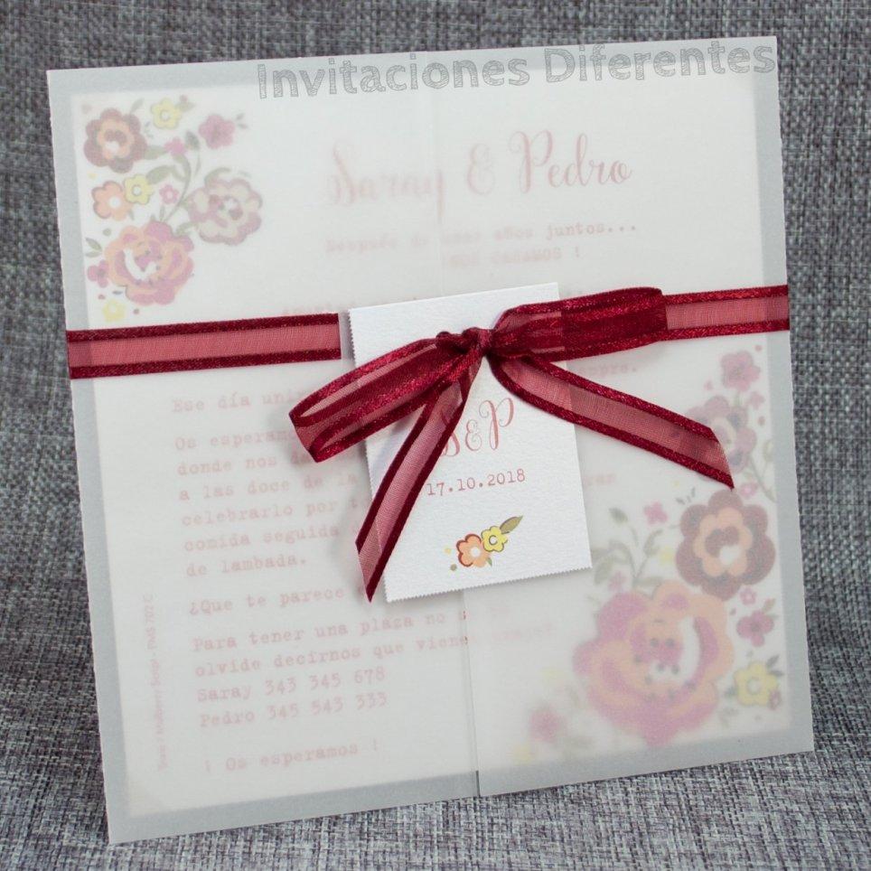 Invitación de boda vegetal flores Belarto 726039