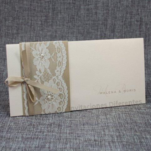 Gold und Spitze Hochzeitseinladung Belarto 726042