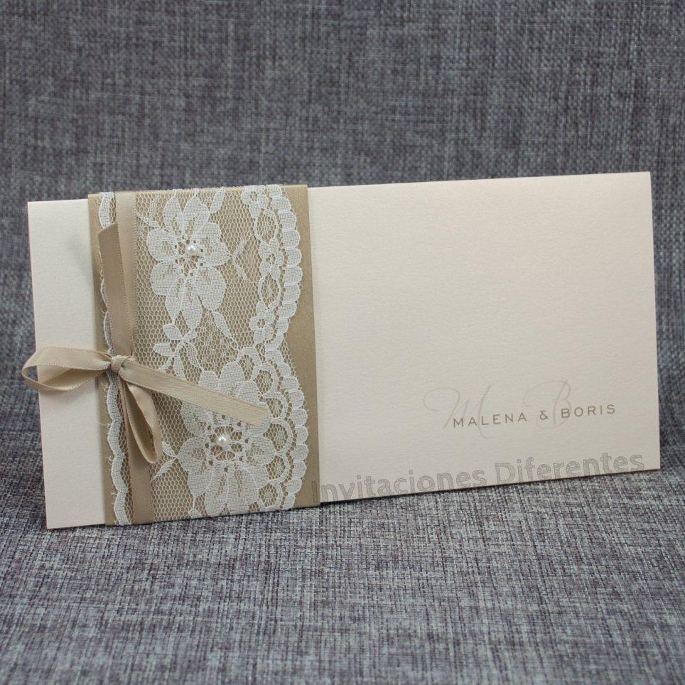 Invitación de boda dorado y encaje Belarto 726042