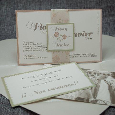 Invitación de boda corazón florido Belarto 726023