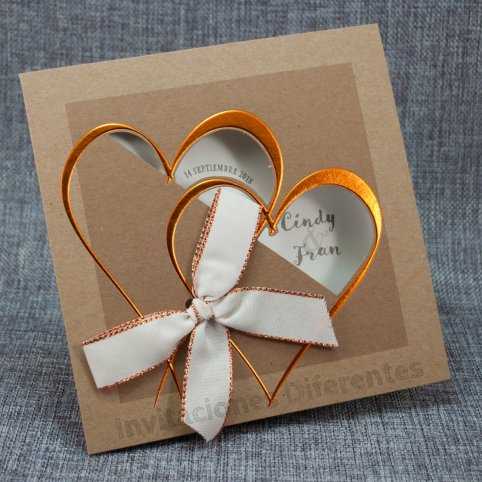 Invitación de boda kraft corazón Belarto 726061