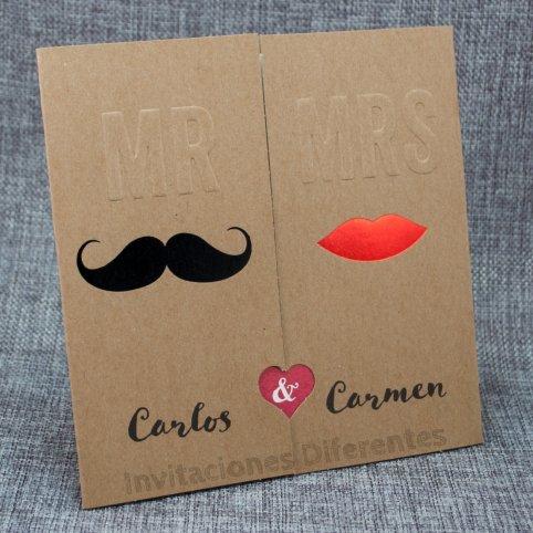 Wedding Invitation Kraft Lip Mustache Belarto 726011