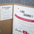 Invitación de boda kraft labio bigote Belarto 726011 tarjeta izquierda