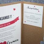 Invitación de boda kraft labio bigote Belarto 726011 tarjeta derecha