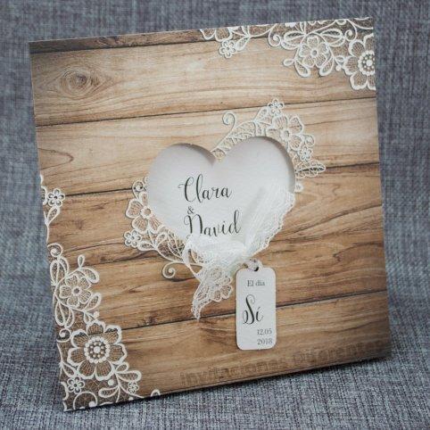 Invitación de boda corazón madera Belarto 726003