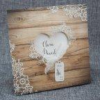 Invitación de boda corazón madera, Belarto 726003