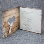 Invitación de boda corazón madera Belarto 726003 abierta