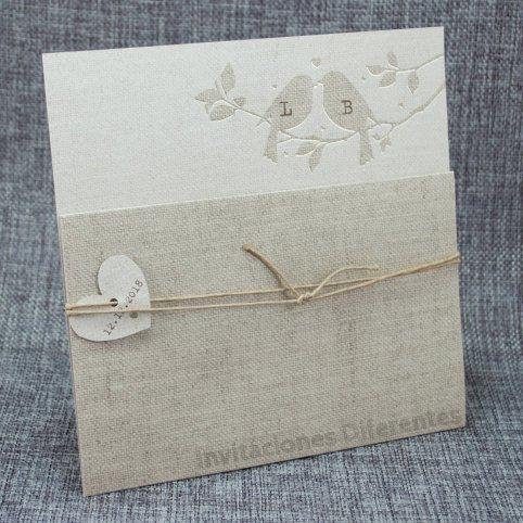 Invitación de boda pajaritos yute Belarto 726016