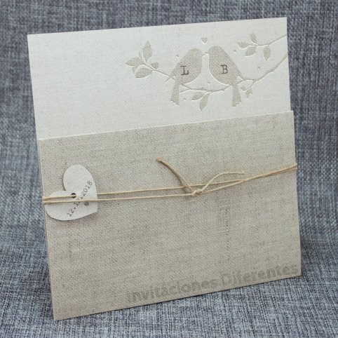 Jute Bow Tie Wedding Invitation Belarto 726016