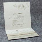 Invitación de boda pajaritos yute Belarto 726016 abierta