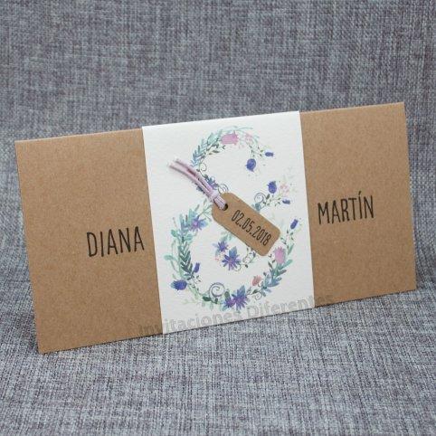 Invitación de boda kraft y flores interior Belarto 726037