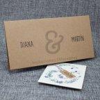 726037 Kraft wedding invitation and flowers inside Belarto without band