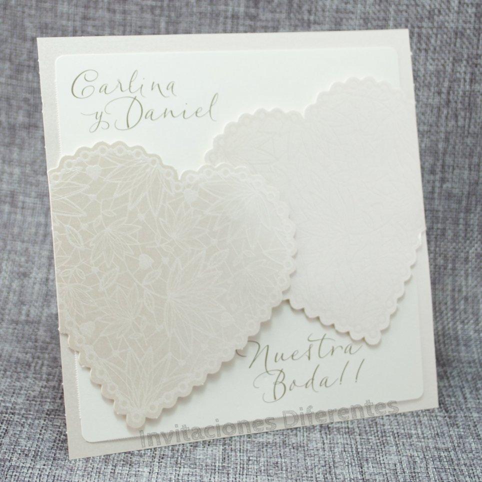 Invitación de boda corazón nacarado Belarto 726050
