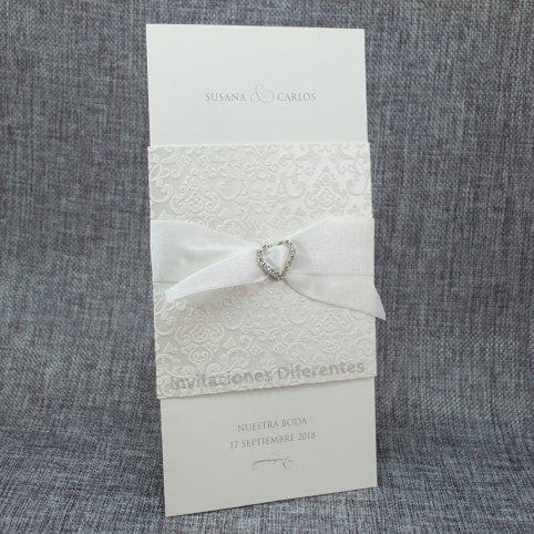 Invitación de boda corazón cristales Belarto 726066