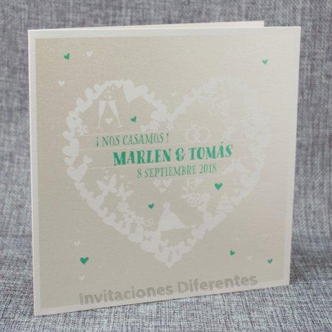 Invitación de boda corazón de corazones Belarto 726067