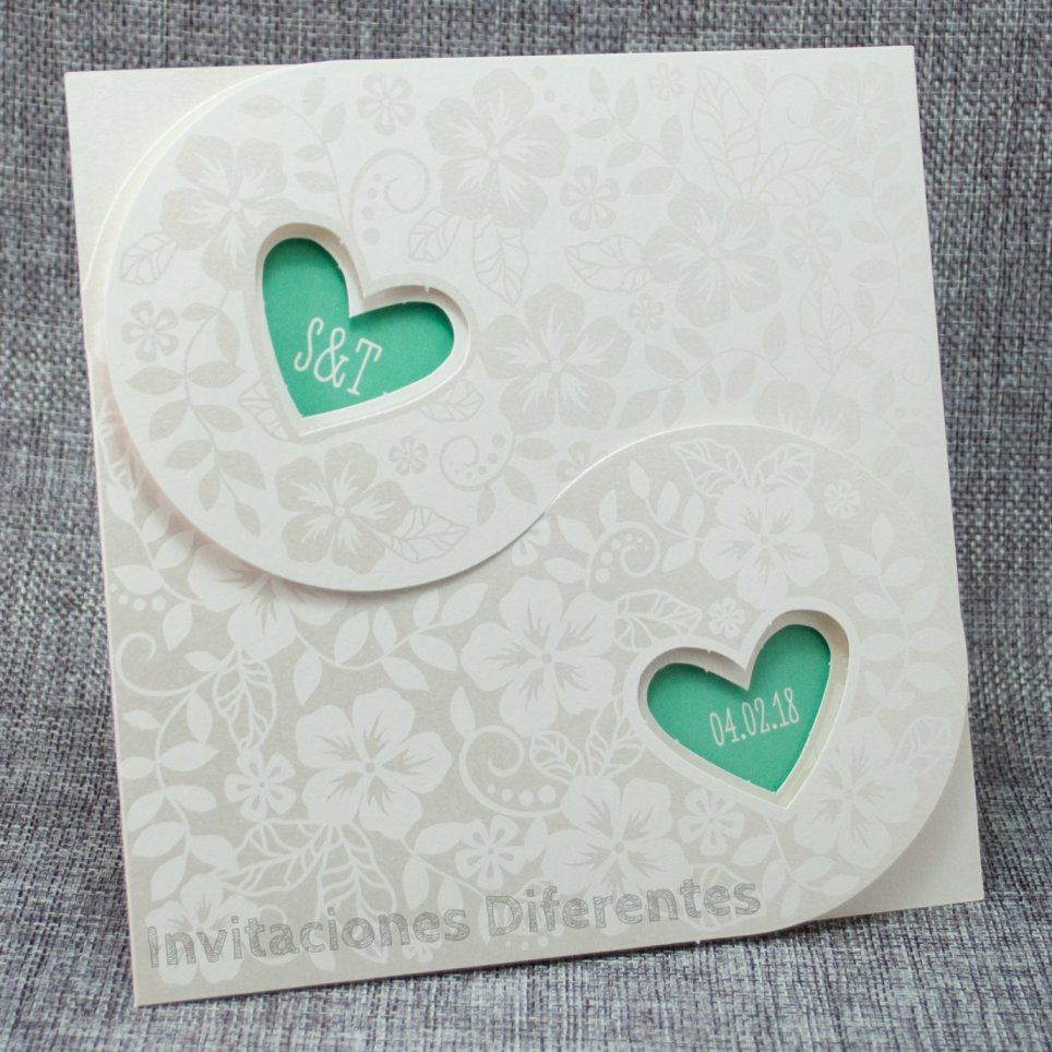 Invitación de boda corazones verdes Belarto 726008