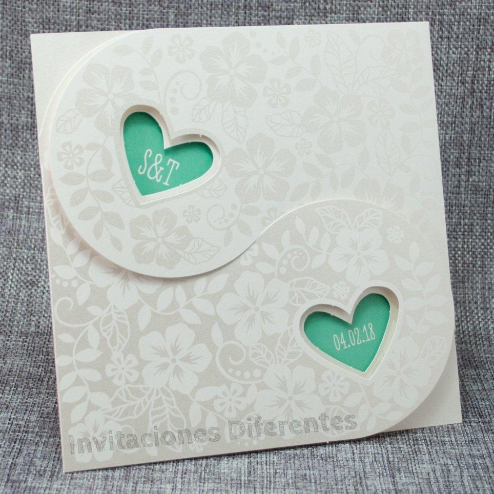 Green Hearts Wedding Invitation Belarto 726008