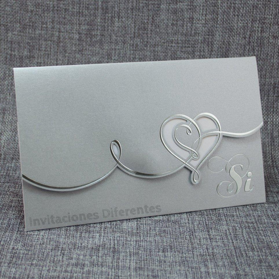 Invitación de boda corazón plata Belarto 726056