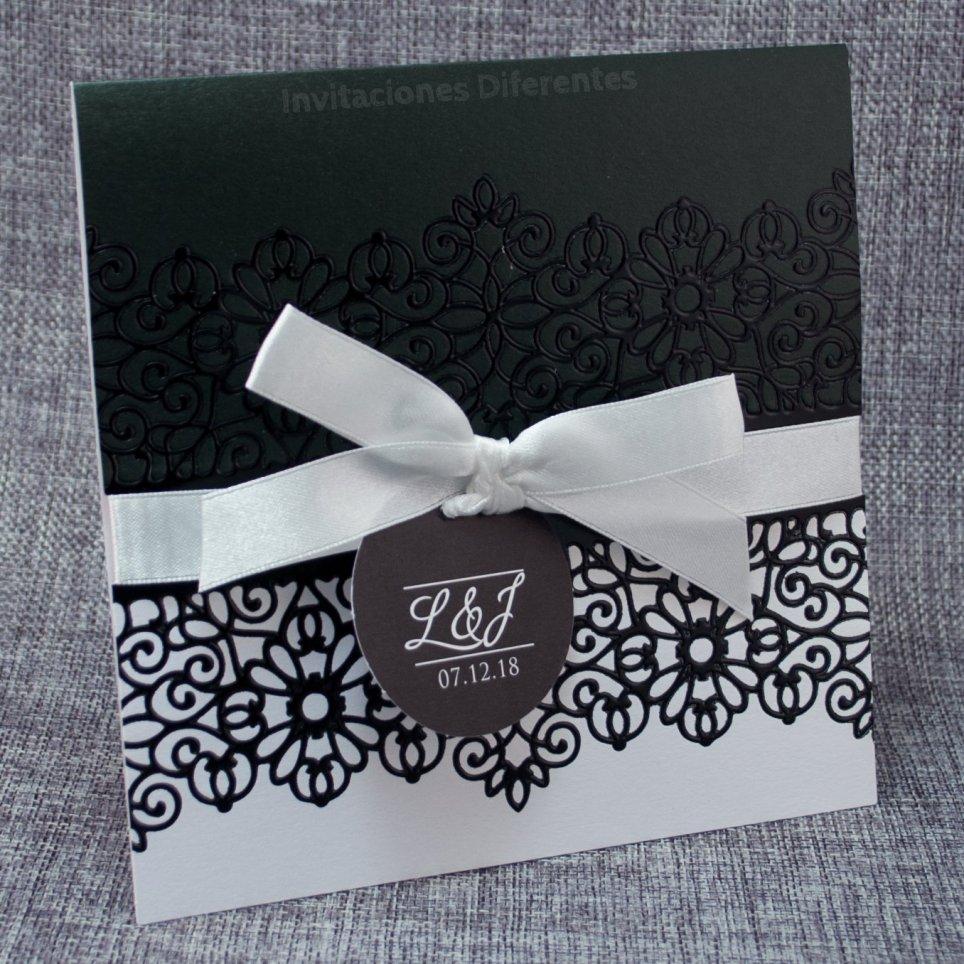 Schwarzweiss-Hochzeits-Einladung Belarto 726045