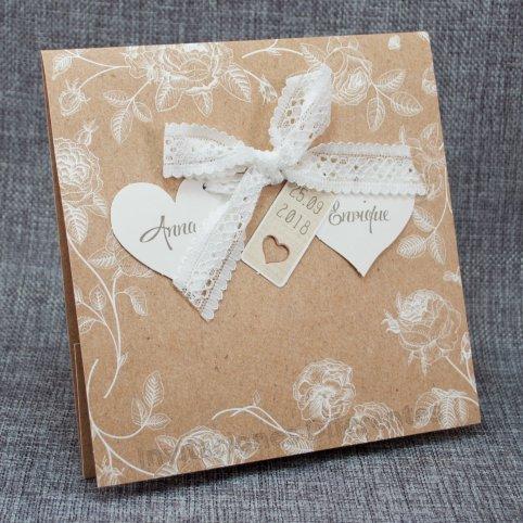 Invitación de boda kraft flores Belarto 726022